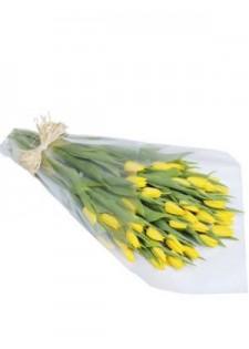 Большой букет желтых тюльпанов