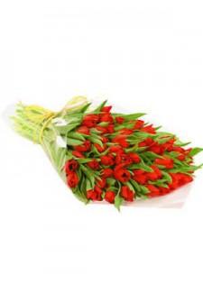 Большой букет красных тюльпанов