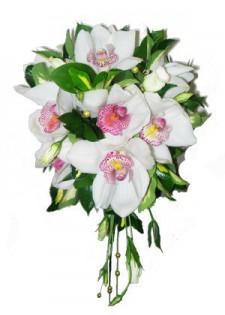 Белая орхидея и эустома